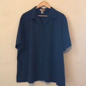Notations Silky Navy Button Up Short Sleeve Shirt!
